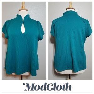 MODCLOTH Mandarin Collar Short Sleeve Textured Top